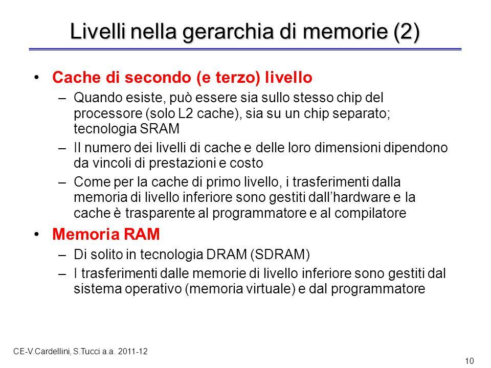 CE-V.Cardellini, S.Tucci a.a. 2011-12 10 Livelli nella gerarchia di memorie (2) Cache di secondo (e terzo) livello –Quando esiste, può essere sia sull