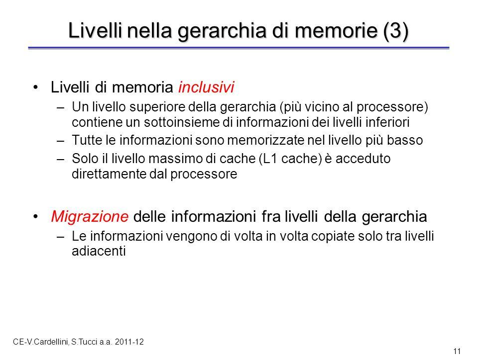 CE-V.Cardellini, S.Tucci a.a. 2011-12 11 Livelli nella gerarchia di memorie (3) Livelli di memoria inclusivi –Un livello superiore della gerarchia (pi