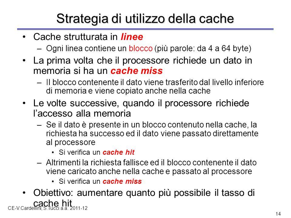 CE-V.Cardellini, S.Tucci a.a. 2011-12 14 Strategia di utilizzo della cache Cache strutturata in linee –Ogni linea contiene un blocco (più parole: da 4