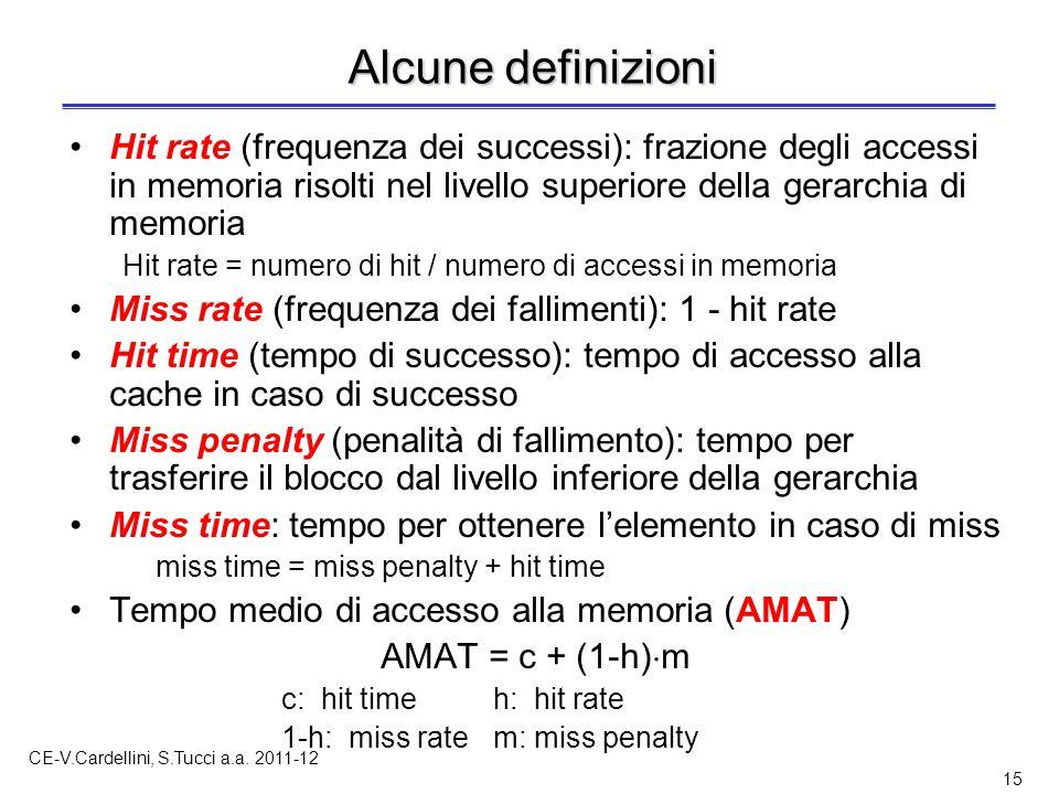 CE-V.Cardellini, S.Tucci a.a. 2011-12 15 Alcune definizioni Hit rate (frequenza dei successi): frazione degli accessi in memoria risolti nel livello s