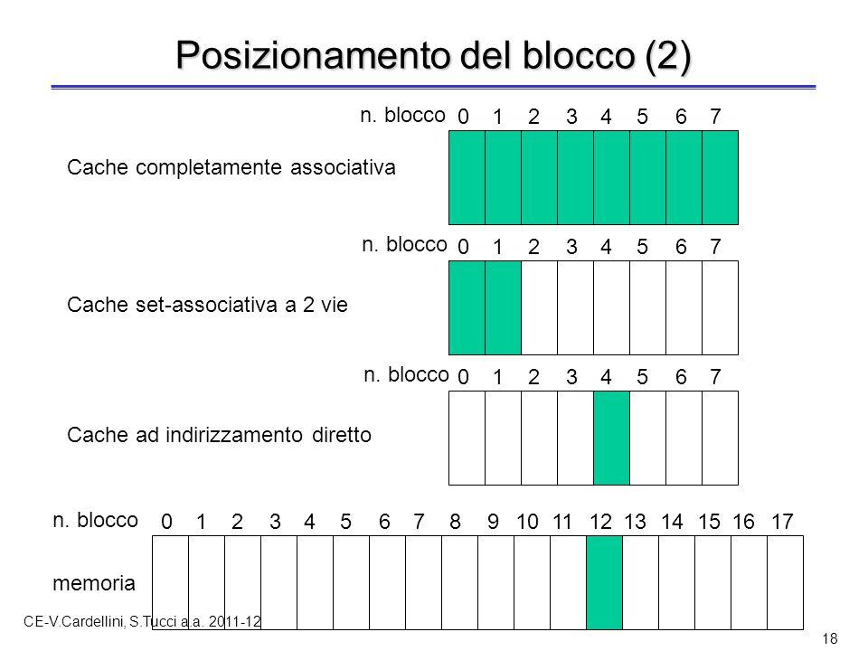 CE-V.Cardellini, S.Tucci a.a. 2011-12 18 Posizionamento del blocco (2) 01234567891011121314151617 n. blocco memoria 01234567 01234567 01234567 Cache c