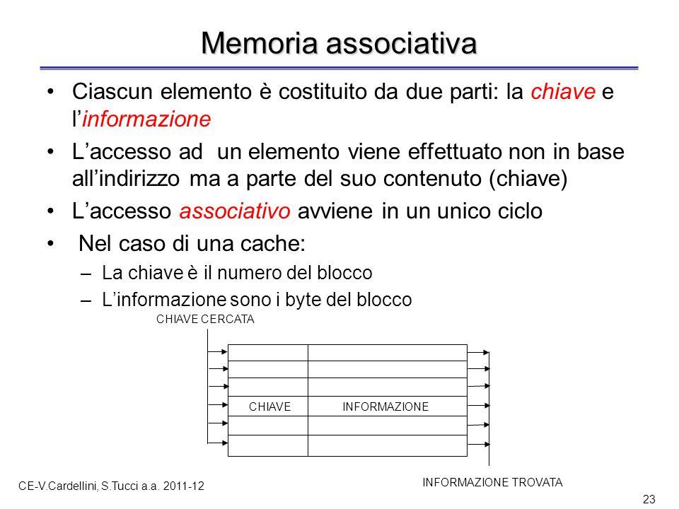 CE-V.Cardellini, S.Tucci a.a. 2011-12 23 Memoria associativa Ciascun elemento è costituito da due parti: la chiave e l'informazione L'accesso ad un el
