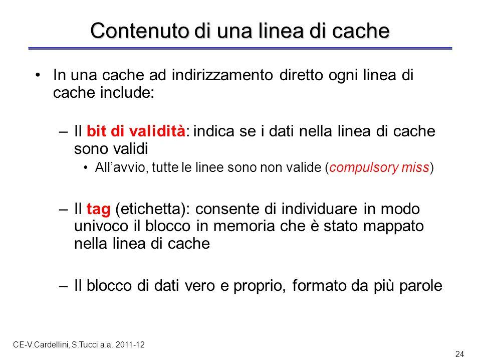 CE-V.Cardellini, S.Tucci a.a. 2011-12 24 Contenuto di una linea di cache In una cache ad indirizzamento diretto ogni linea di cache include: –Il bit d