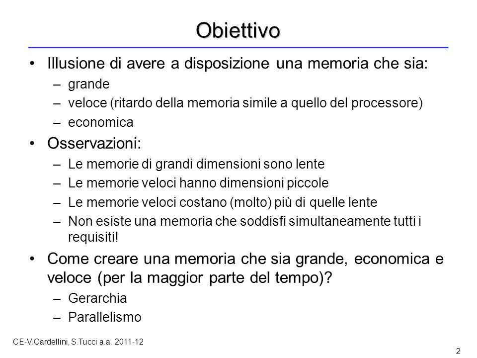 CE-V.Cardellini, S.Tucci a.a. 2011-12 2 Obiettivo Illusione di avere a disposizione una memoria che sia: –grande –veloce (ritardo della memoria simile