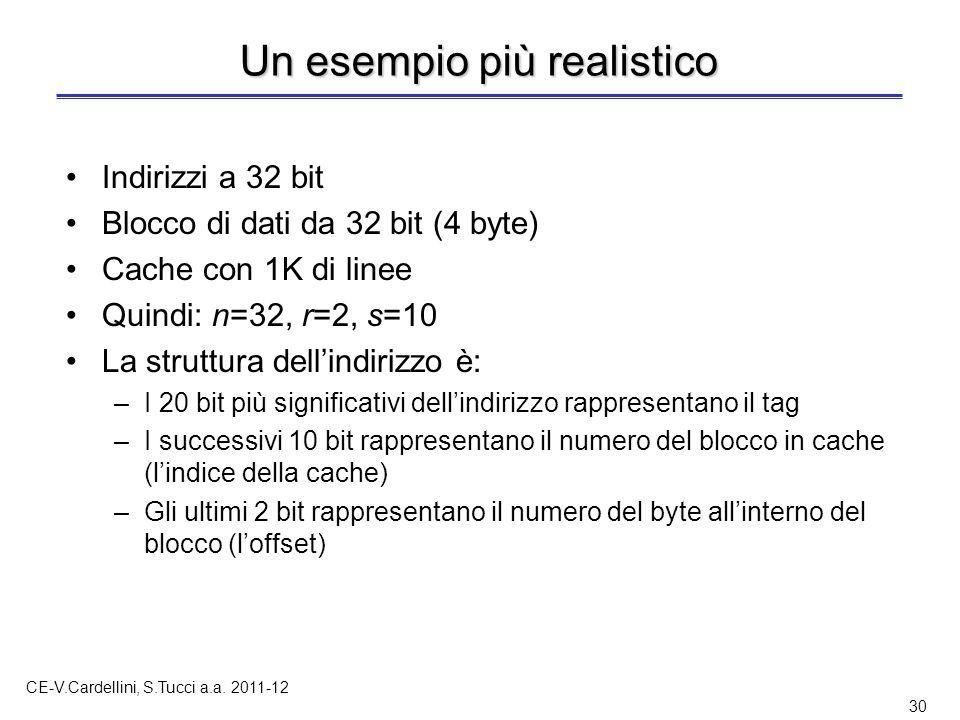 CE-V.Cardellini, S.Tucci a.a. 2011-12 30 Un esempio più realistico Indirizzi a 32 bit Blocco di dati da 32 bit (4 byte) Cache con 1K di linee Quindi: