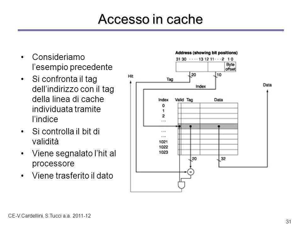 CE-V.Cardellini, S.Tucci a.a. 2011-12 31 Accesso in cache Consideriamo l'esempio precedente Si confronta il tag dell'indirizzo con il tag della linea