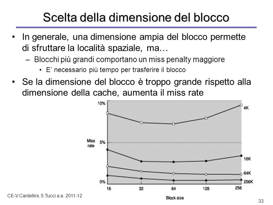 CE-V.Cardellini, S.Tucci a.a. 2011-12 33 Scelta della dimensione del blocco In generale, una dimensione ampia del blocco permette di sfruttare la loca
