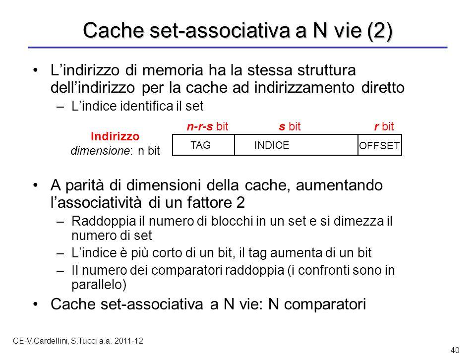 CE-V.Cardellini, S.Tucci a.a. 2011-12 40 L'indirizzo di memoria ha la stessa struttura dell'indirizzo per la cache ad indirizzamento diretto –L'indice