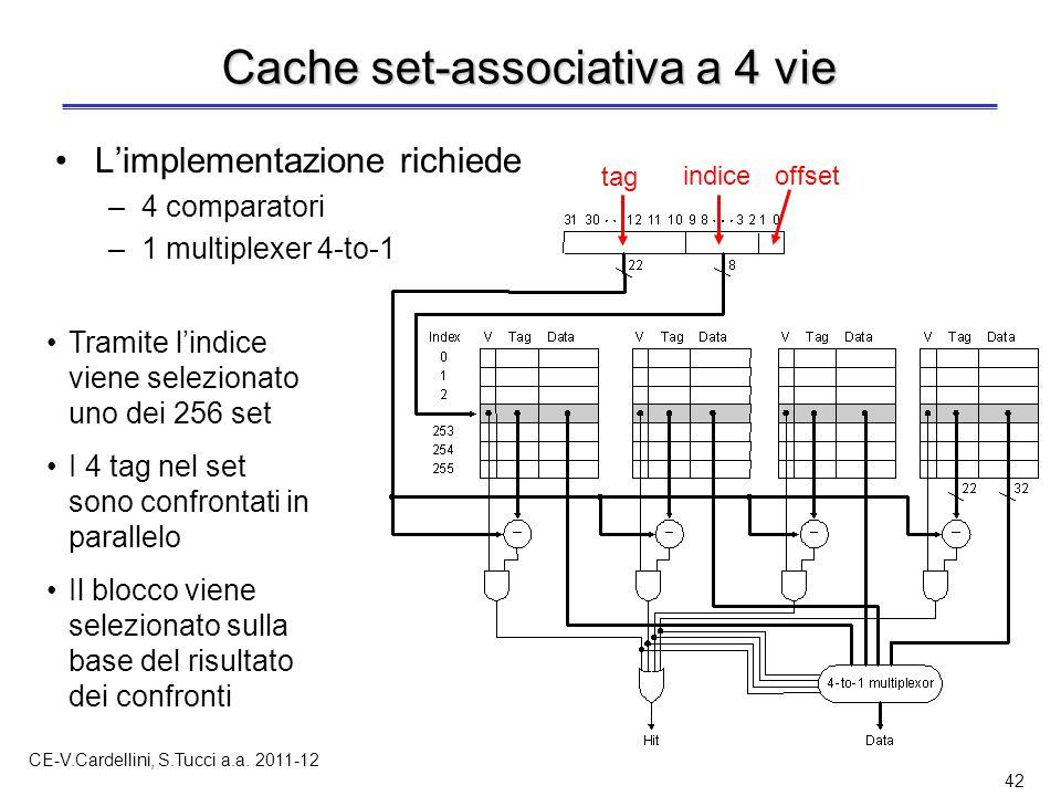 CE-V.Cardellini, S.Tucci a.a. 2011-12 42 Cache set-associativa a 4 vie L'implementazione richiede –4 comparatori –1 multiplexer 4-to-1 Tramite l'indic
