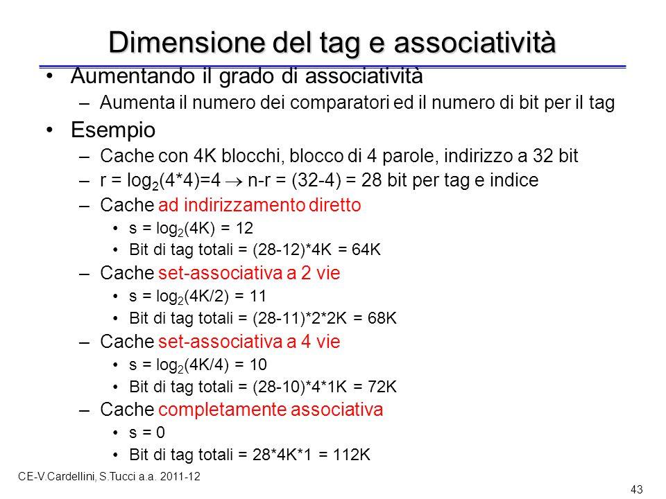 CE-V.Cardellini, S.Tucci a.a. 2011-12 43 Dimensione del tag e associatività Aumentando il grado di associatività –Aumenta il numero dei comparatori ed