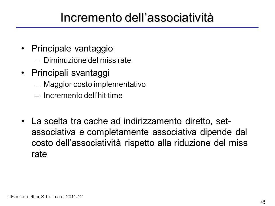 CE-V.Cardellini, S.Tucci a.a. 2011-12 45 Incremento dell'associatività Principale vantaggio –Diminuzione del miss rate Principali svantaggi –Maggior c