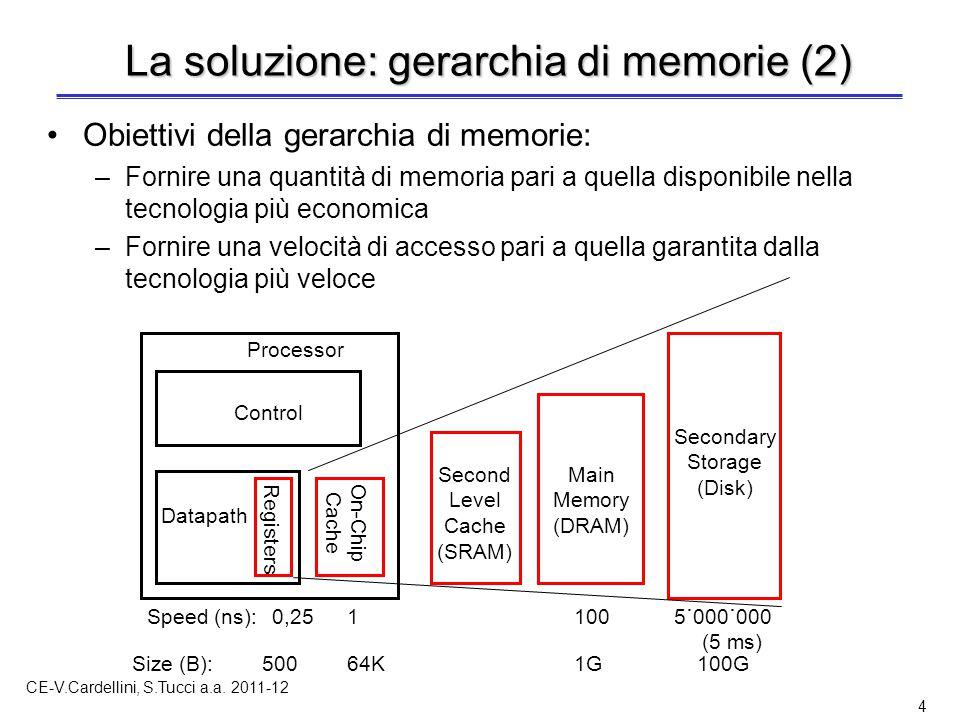 CE-V.Cardellini, S.Tucci a.a. 2011-12 4 La soluzione: gerarchia di memorie (2) Obiettivi della gerarchia di memorie: –Fornire una quantità di memoria
