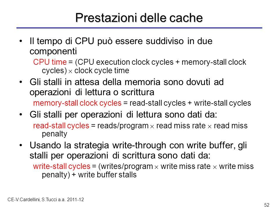 CE-V.Cardellini, S.Tucci a.a. 2011-12 52 Prestazioni delle cache Il tempo di CPU può essere suddiviso in due componenti CPU time = (CPU execution cloc