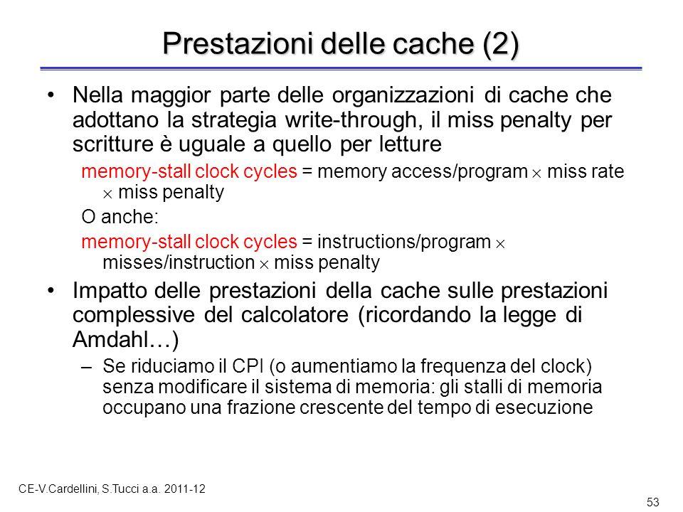 CE-V.Cardellini, S.Tucci a.a. 2011-12 53 Prestazioni delle cache (2) Nella maggior parte delle organizzazioni di cache che adottano la strategia write