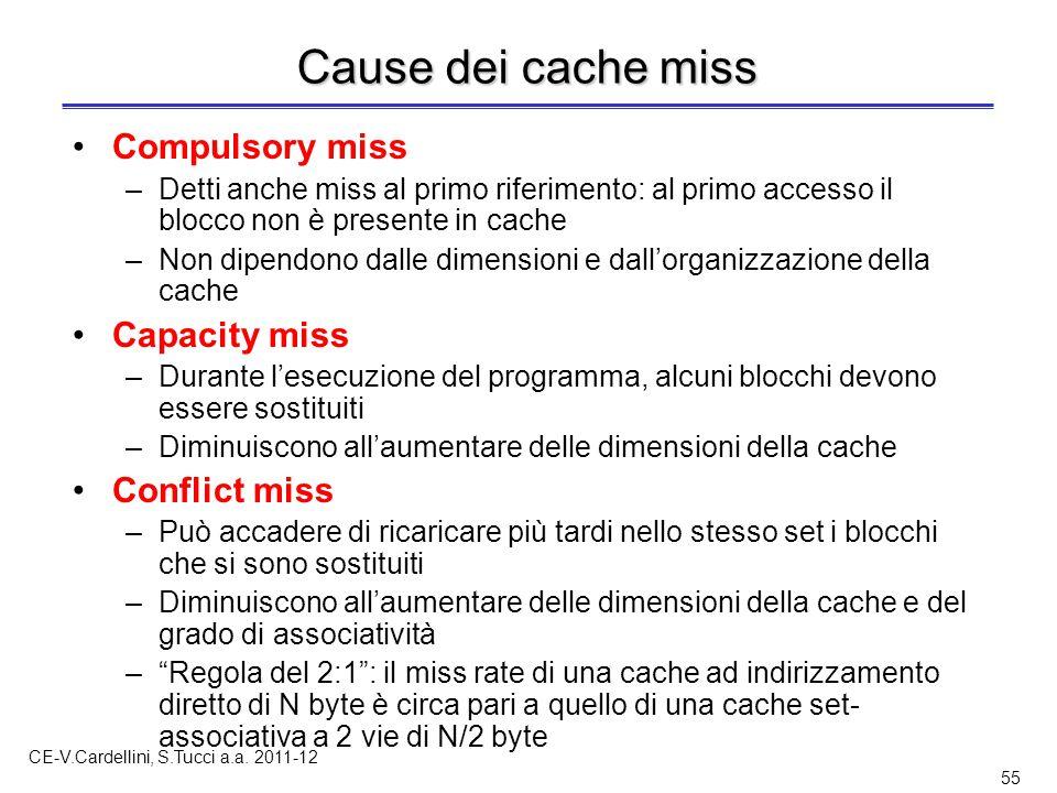 CE-V.Cardellini, S.Tucci a.a. 2011-12 55 Cause dei cache miss Compulsory miss –Detti anche miss al primo riferimento: al primo accesso il blocco non è