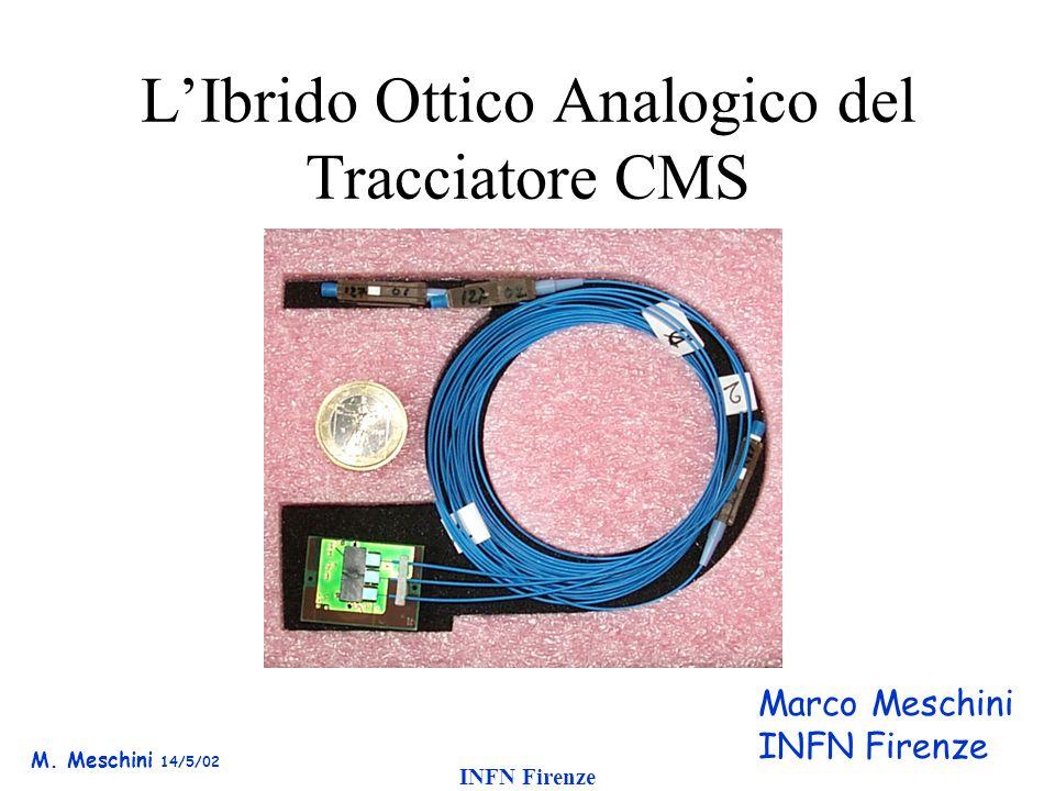 M. Meschini 14/5/02 INFN Firenze L'Ibrido Ottico Analogico del Tracciatore CMS Commissione 1, LNF 13 Maggio 2002 Marco Meschini INFN Firenze