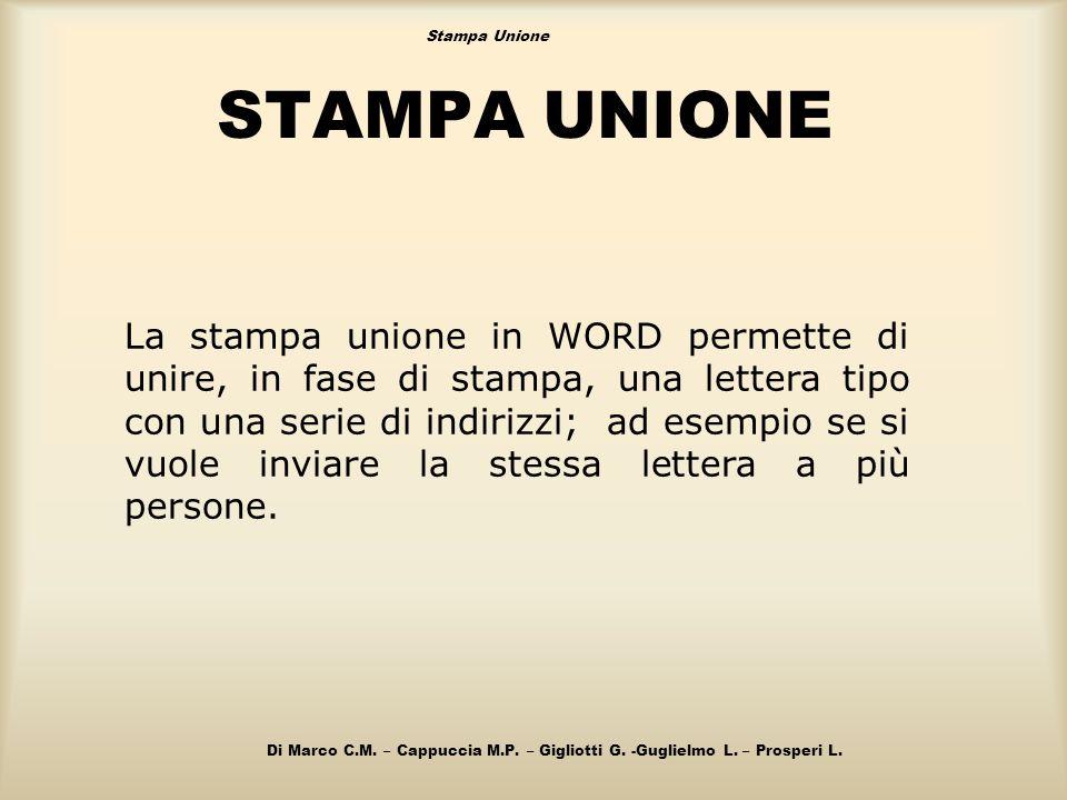 STAMPA UNIONE La stampa unione in WORD permette di unire, in fase di stampa, una lettera tipo con una serie di indirizzi; ad esempio se si vuole invia