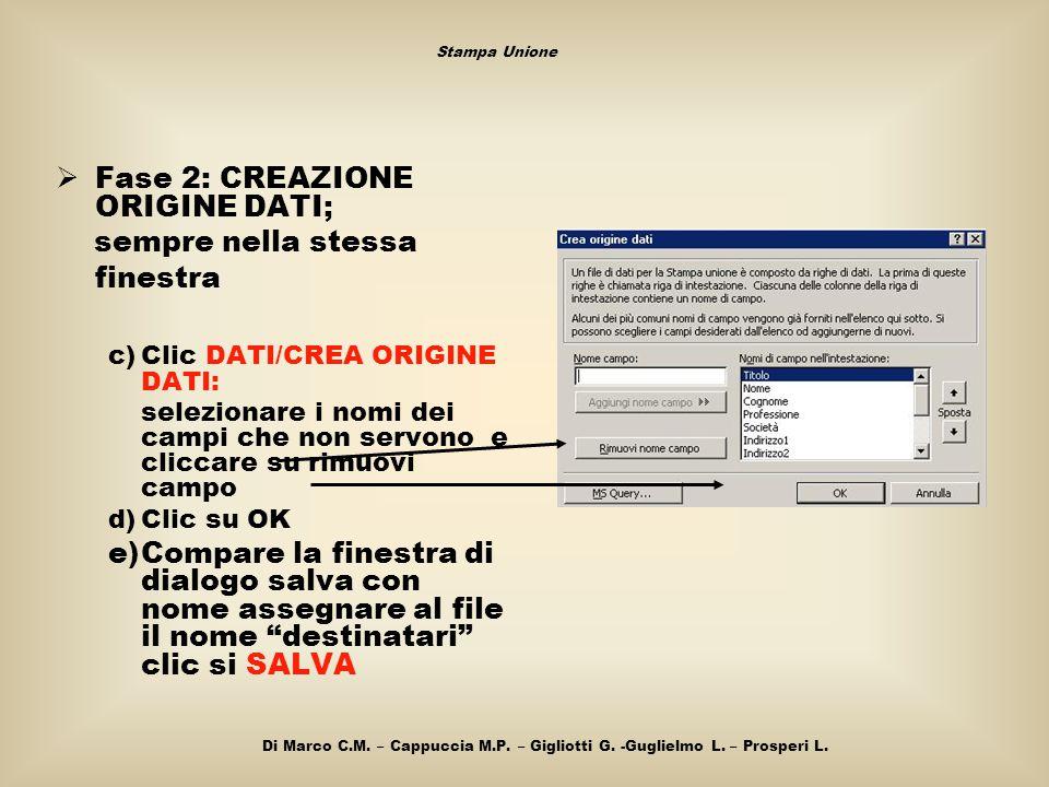  Fase 2: CREAZIONE ORIGINE DATI; sempre nella stessa finestra c)Clic DATI/CREA ORIGINE DATI: selezionare i nomi dei campi che non servono e cliccare