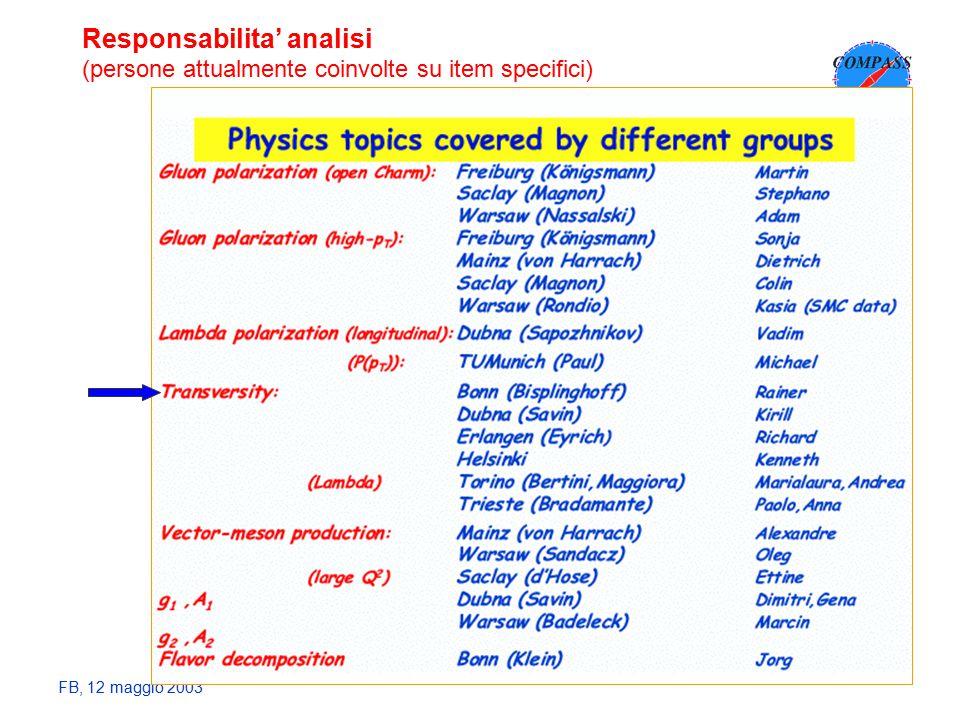 FB, 12 maggio 2003 Responsabilita' analisi (persone attualmente coinvolte su item specifici)
