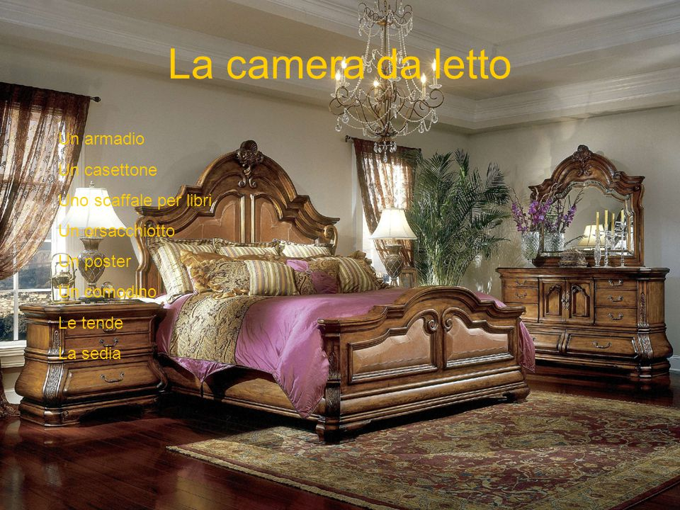 La camera da letto Un armadio Un casettone Uno scaffale per libri Un orsacchiotto Un poster Un comodino Le tende La sedia