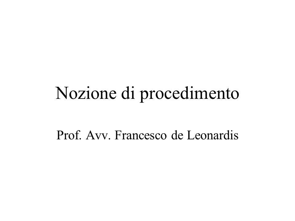 Nozione di procedimento Prof. Avv. Francesco de Leonardis
