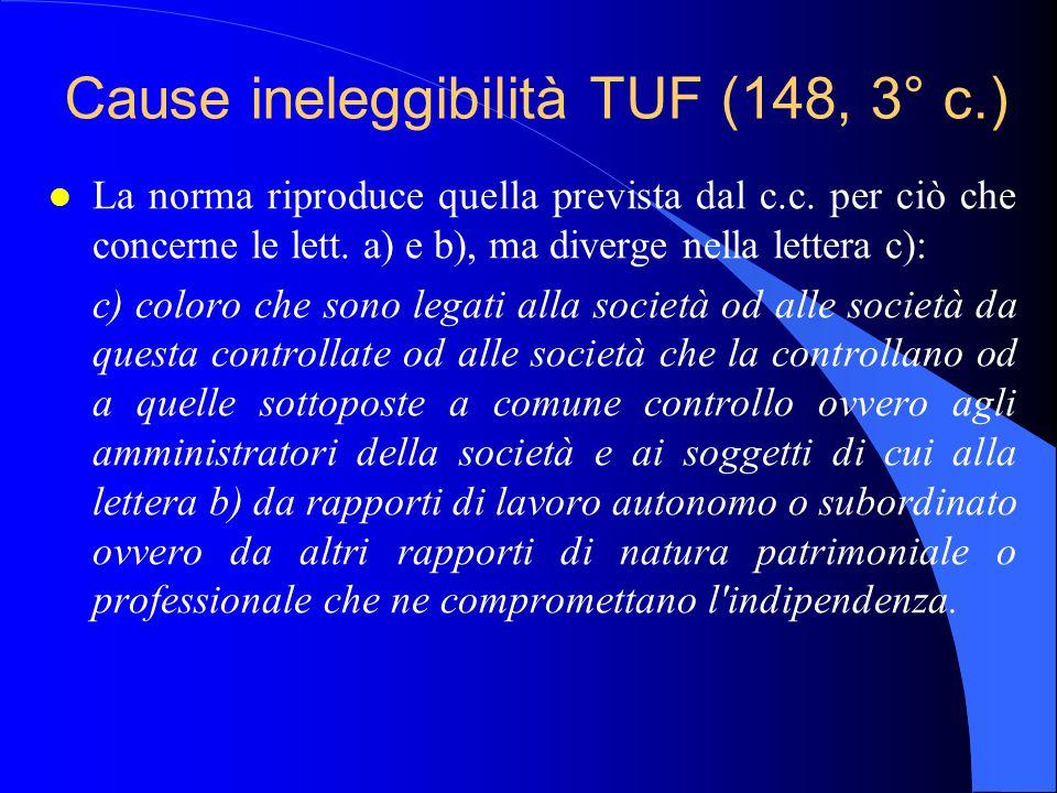 Cause ineleggibilità TUF (148, 3° c.) l La norma riproduce quella prevista dal c.c. per ciò che concerne le lett. a) e b), ma diverge nella lettera c)