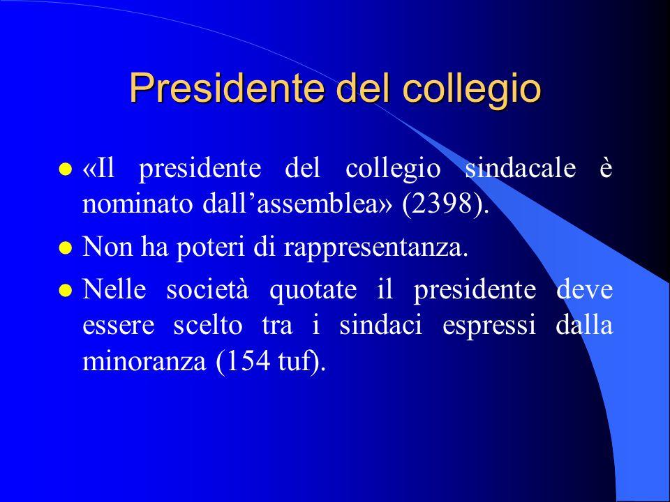 Presidente del collegio l «Il presidente del collegio sindacale è nominato dall'assemblea» (2398). l Non ha poteri di rappresentanza. l Nelle società