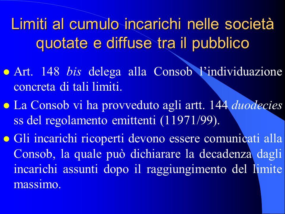 Limiti al cumulo incarichi nelle società quotate e diffuse tra il pubblico l Art. 148 bis delega alla Consob l'individuazione concreta di tali limiti.