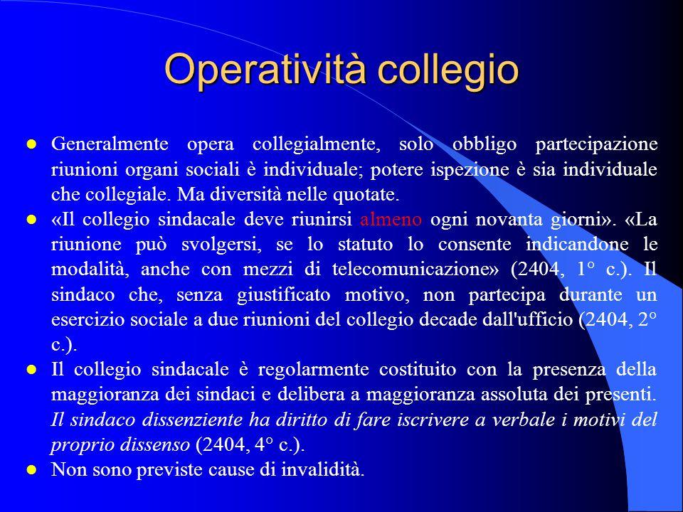 Operatività collegio l Generalmente opera collegialmente, solo obbligo partecipazione riunioni organi sociali è individuale; potere ispezione è sia in