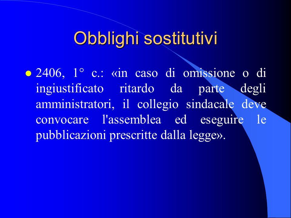 Obblighi sostitutivi l 2406, 1° c.: «in caso di omissione o di ingiustificato ritardo da parte degli amministratori, il collegio sindacale deve convoc