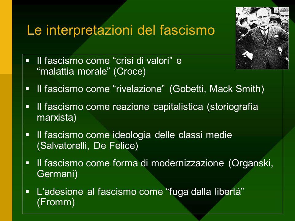 """Le interpretazioni del fascismo  Il fascismo come """"crisi di valori"""" e """"malattia morale"""" (Croce)  Il fascismo come """"rivelazione"""" (Gobetti, Mack Smith"""