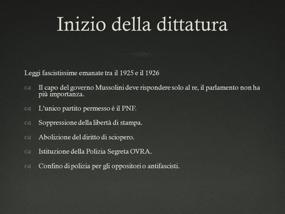 Inizio della dittaturaInizio della dittatura Leggi fascistissime emanate tra il 1925 e il 1926  Il capo del governo Mussolini deve rispondere solo al