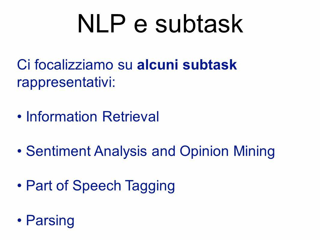 NLP e subtask Ci focalizziamo su alcuni subtask rappresentativi: Information Retrieval Sentiment Analysis and Opinion Mining Part of Speech Tagging Pa
