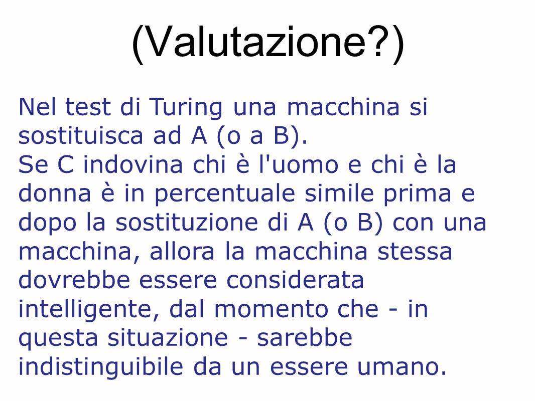 (Valutazione?) Nel test di Turing una macchina si sostituisca ad A (o a B). Se C indovina chi è l'uomo e chi è la donna è in percentuale simile prima
