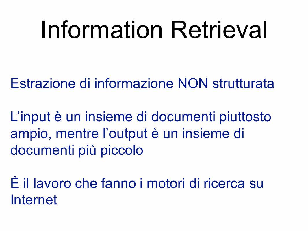 Information Retrieval Estrazione di informazione NON strutturata L'input è un insieme di documenti piuttosto ampio, mentre l'output è un insieme di documenti più piccolo È il lavoro che fanno i motori di ricerca su Internet