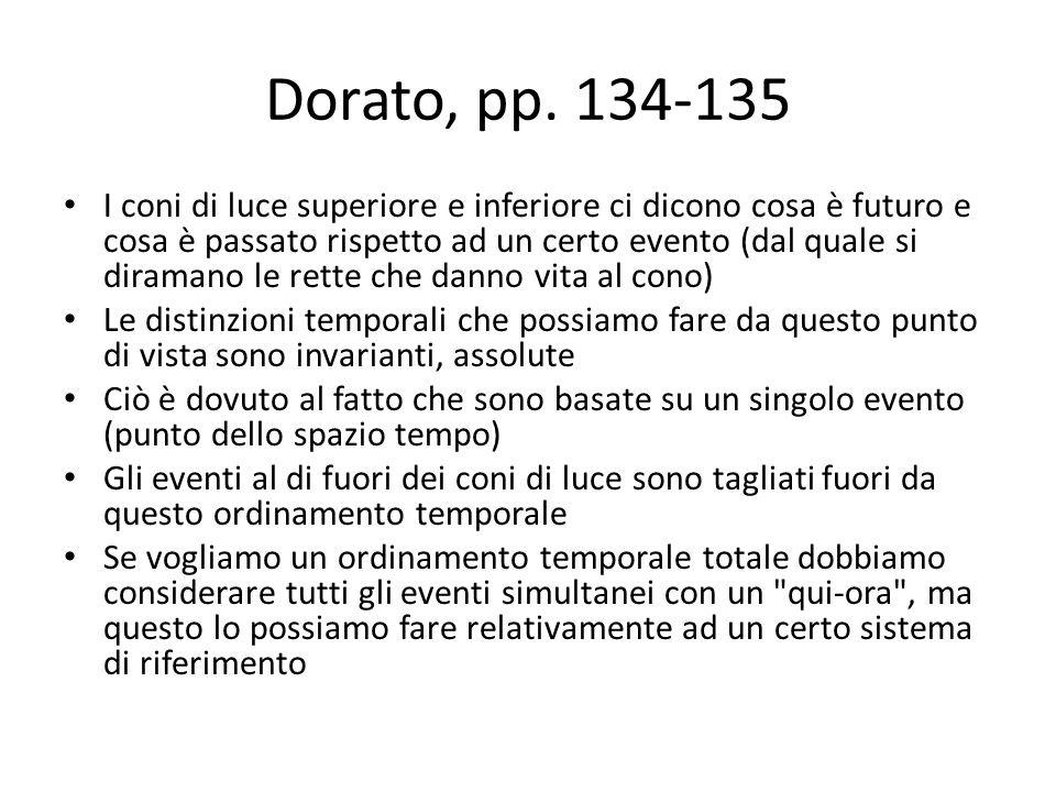 Dorato, pp. 134-135 I coni di luce superiore e inferiore ci dicono cosa è futuro e cosa è passato rispetto ad un certo evento (dal quale si diramano l
