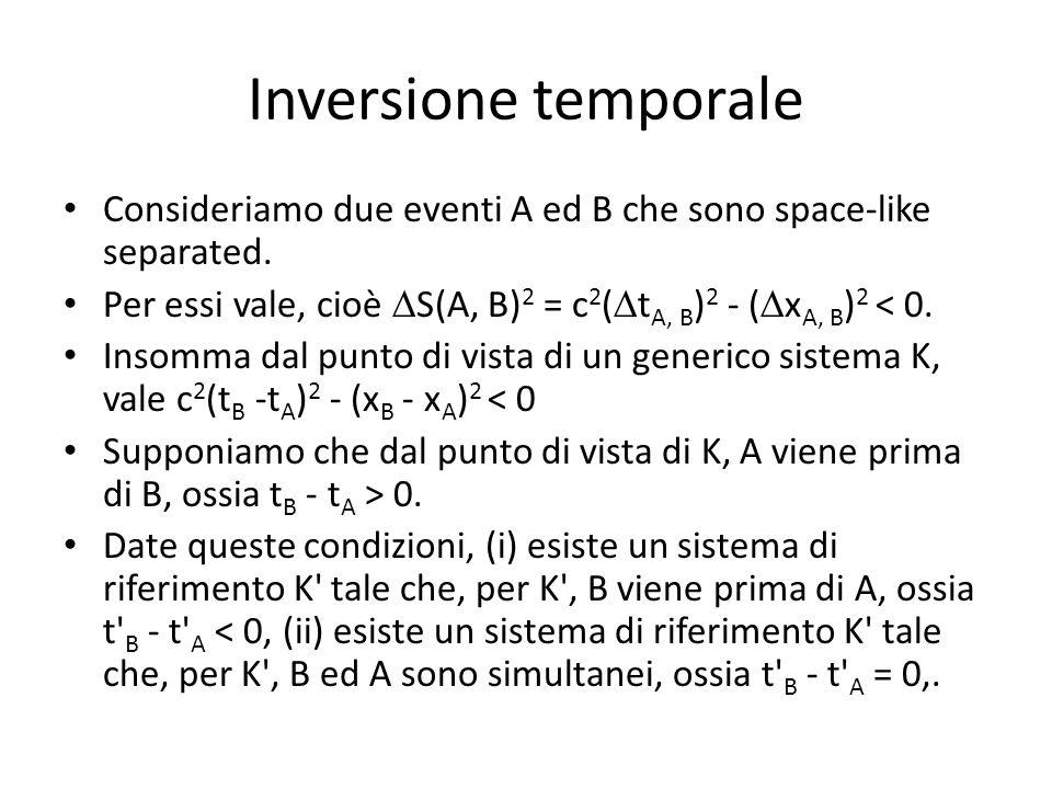 Inversione temporale Consideriamo due eventi A ed B che sono space-like separated. Per essi vale, cioè  S(A, B) 2 = c 2 (  t A, B ) 2 - (  x A, B )