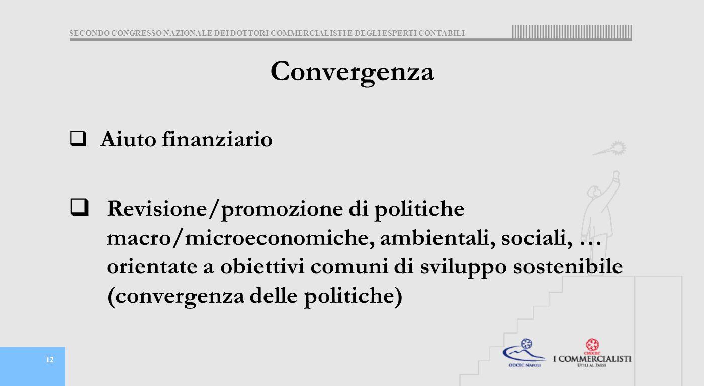 SECONDO CONGRESSO NAZIONALE DEI DOTTORI COMMERCIALISTI E DEGLI ESPERTI CONTABILI 12 Convergenza  Aiuto finanziario  Revisione/promozione di politiche macro/microeconomiche, ambientali, sociali, … orientate a obiettivi comuni di sviluppo sostenibile (convergenza delle politiche)