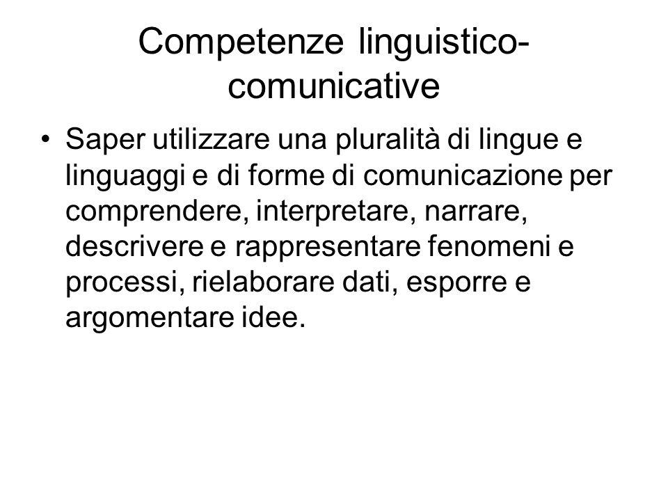 Competenze linguistico- comunicative Saper utilizzare una pluralità di lingue e linguaggi e di forme di comunicazione per comprendere, interpretare, narrare, descrivere e rappresentare fenomeni e processi, rielaborare dati, esporre e argomentare idee.