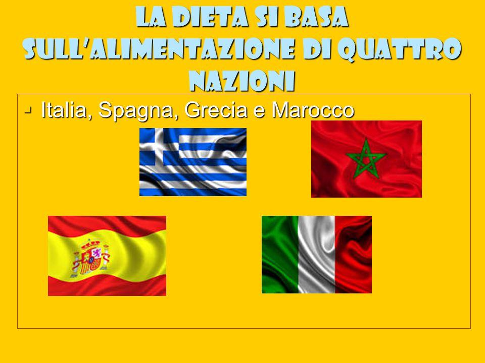 La dieta si basa sull'alimentazione di quattro nazioni  Italia, Spagna, Grecia e Marocco