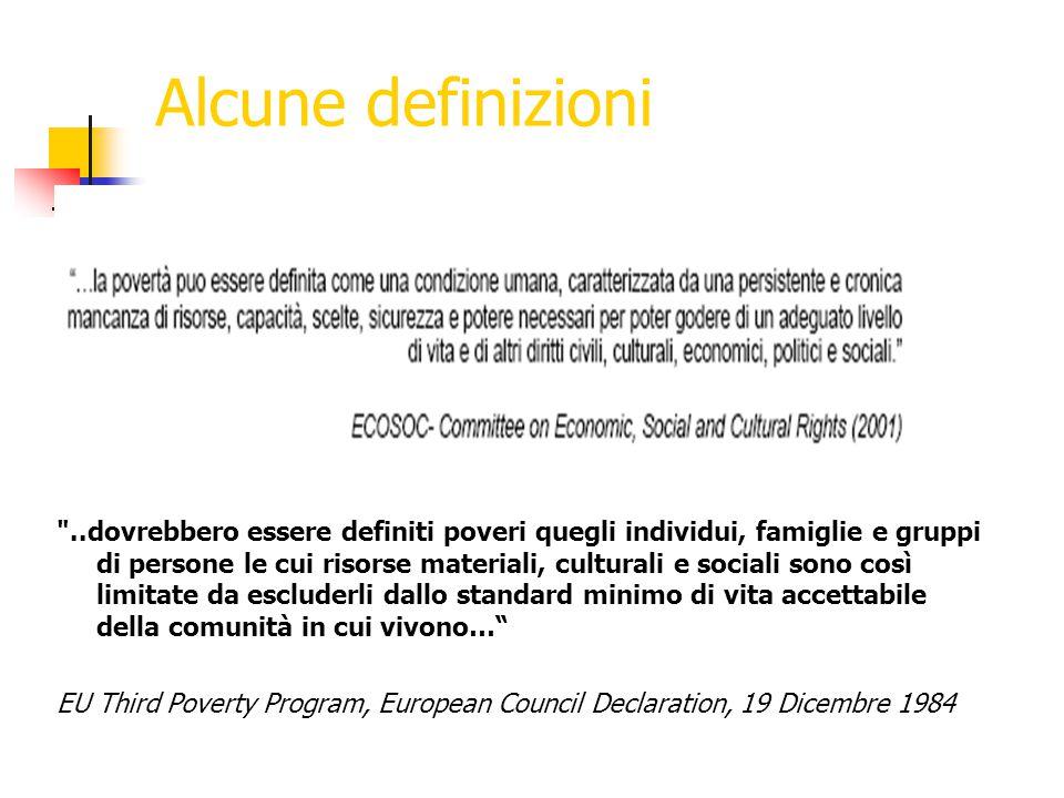 Alcune definizioni ..dovrebbero essere definiti poveri quegli individui, famiglie e gruppi di persone le cui risorse materiali, culturali e sociali sono così limitate da escluderli dallo standard minimo di vita accettabile della comunità in cui vivono… EU Third Poverty Program, European Council Declaration, 19 Dicembre 1984