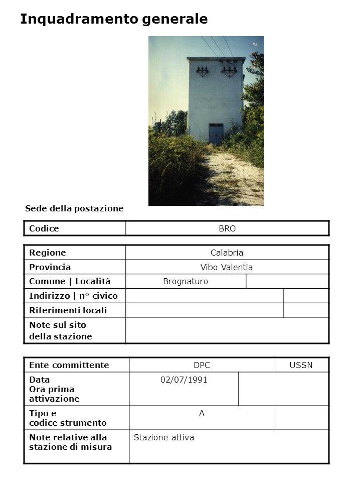 Sede della postazione CodiceBRO Ente committenteDPCUSSN Data Ora prima attivazione 02/07/1991 Tipo e codice strumento A Note relative alla stazione di