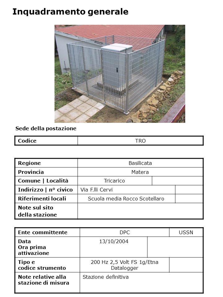 Sede della postazione CodiceTRO Ente committenteDPCUSSN Data Ora prima attivazione 13/10/2004 Tipo e codice strumento 200 Hz 2,5 Volt FS 1g/Etna Datal