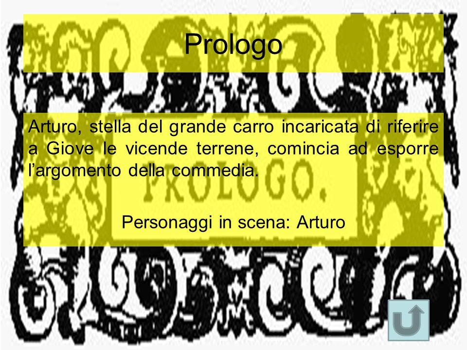 Prologo Arturo, stella del grande carro incaricata di riferire a Giove le vicende terrene, comincia ad esporre l'argomento della commedia. Personaggi