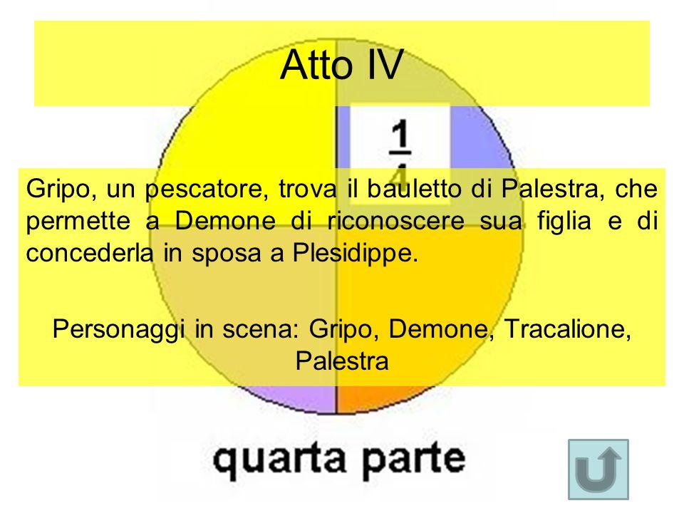 Atto IV Gripo, un pescatore, trova il bauletto di Palestra, che permette a Demone di riconoscere sua figlia e di concederla in sposa a Plesidippe. Per