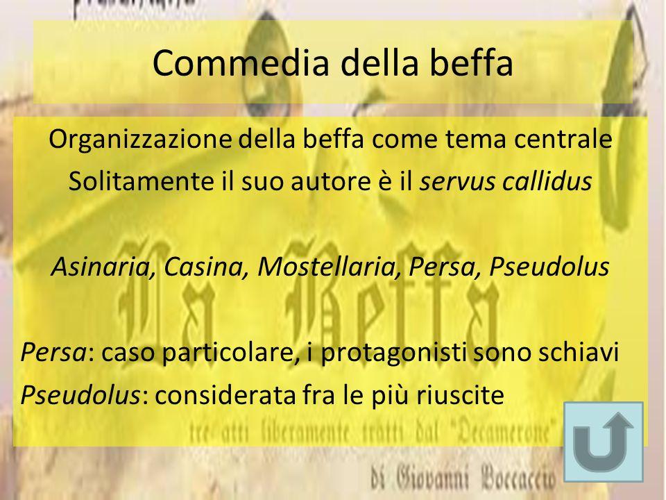 Commedia della beffa Organizzazione della beffa come tema centrale Solitamente il suo autore è il servus callidus Asinaria, Casina, Mostellaria, Persa