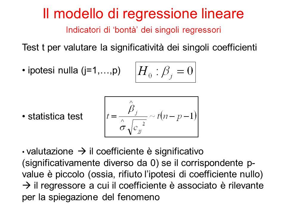 Test t per valutare la significatività dei singoli coefficienti ipotesi nulla (j=1,…,p) valutazione  il coefficiente è significativo (significativame