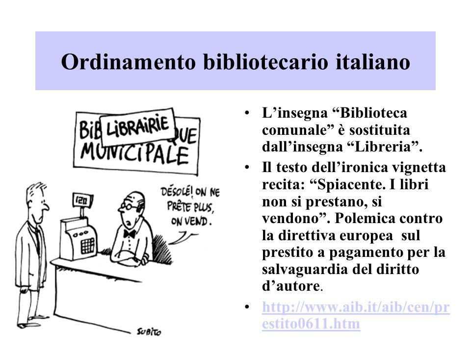 """Ordinamento bibliotecario italiano L'insegna """"Biblioteca comunale"""" è sostituita dall'insegna """"Libreria"""". Il testo dell'ironica vignetta recita: """"Spiac"""
