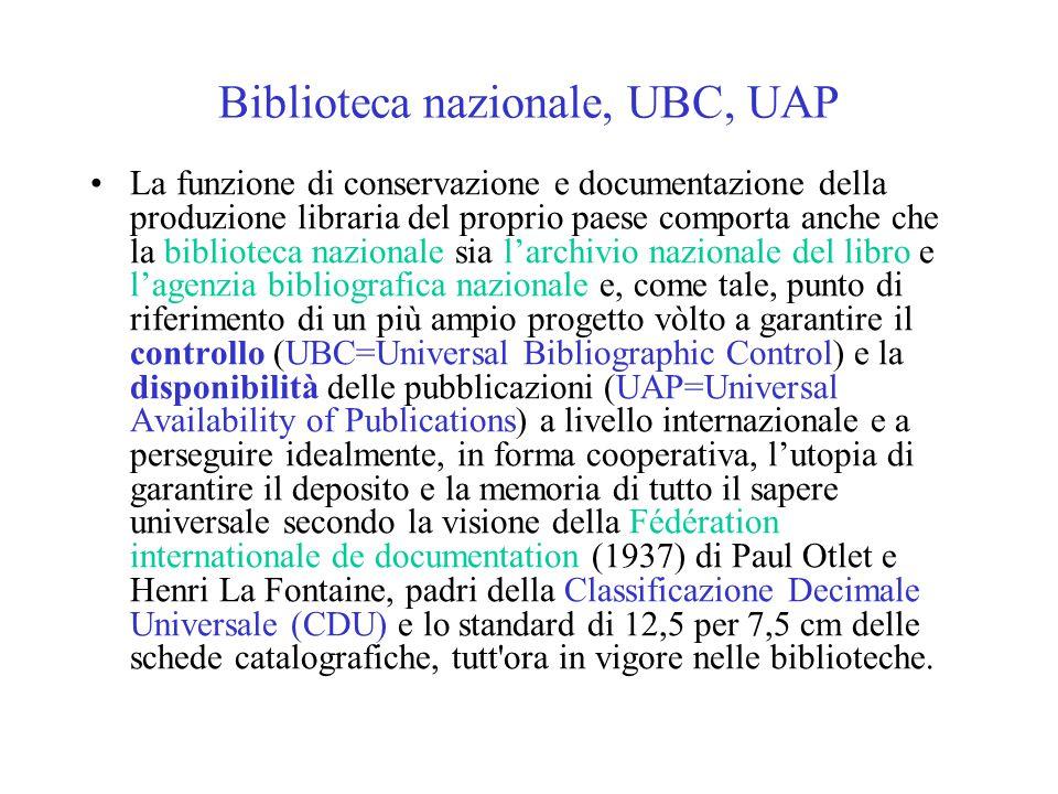 Biblioteca nazionale, UBC, UAP La funzione di conservazione e documentazione della produzione libraria del proprio paese comporta anche che la bibliot