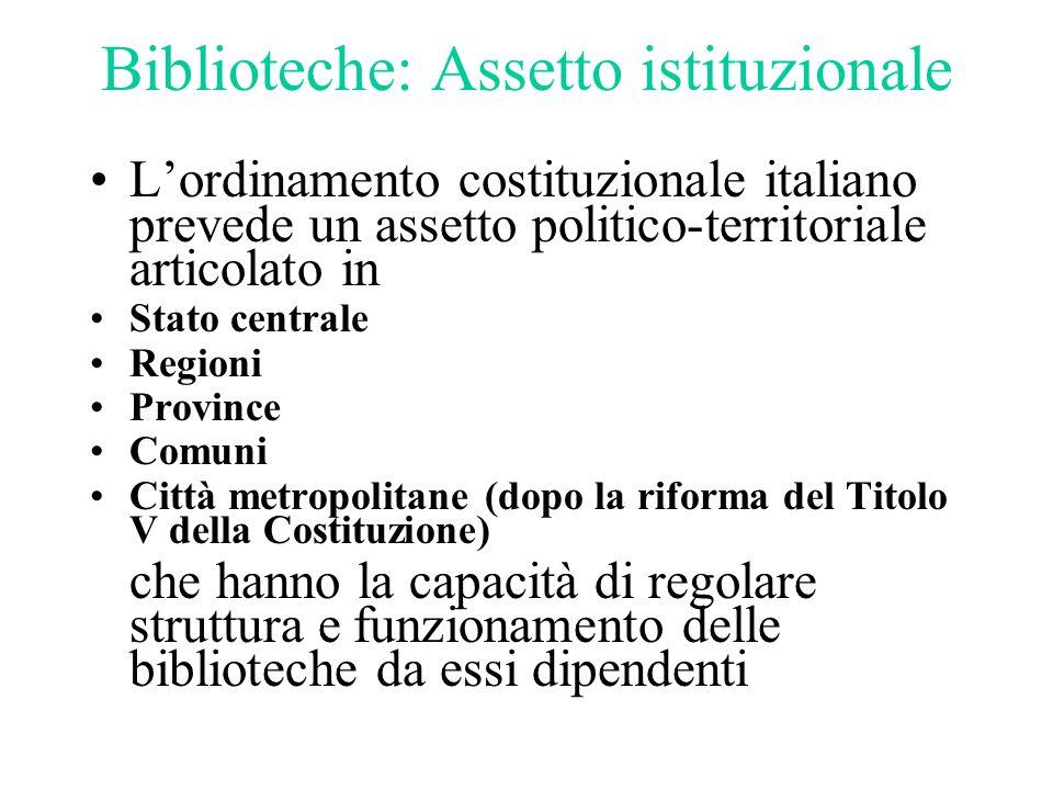 Biblioteche: Assetto istituzionale L'ordinamento costituzionale italiano prevede un assetto politico-territoriale articolato in Stato centrale Regioni